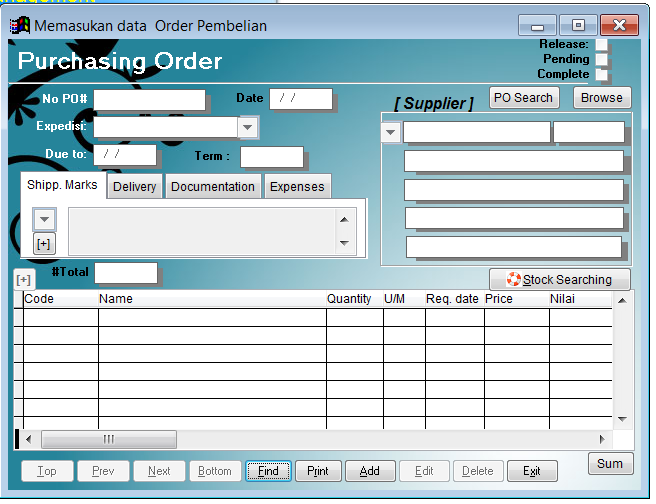 Contoh form isian PO (Purchasing order)