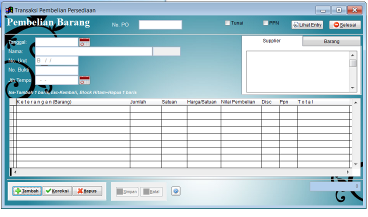 Contoh form isian transaksi pembelian/ purchasing