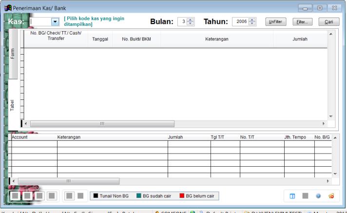 Contoh form isian transaksi penerimaan kas/ bank