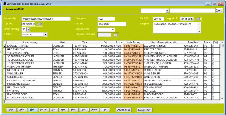 Contoh tampilan Data BC 2.3 (import)