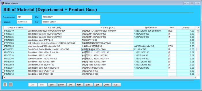 Contoh tampilan form Bill of Material (BOM)